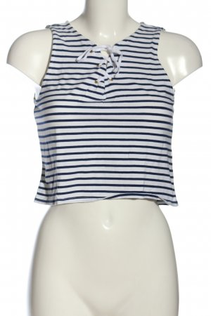 H&M Divided Cropped Top weiß-blau Streifenmuster Casual-Look