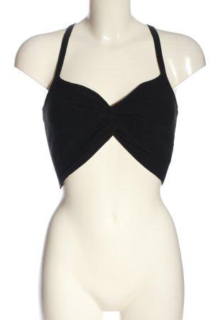 H&M Divided Top recortado negro punto trenzado look casual