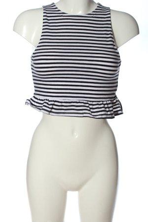 H&M Divided Top recortado blanco-negro estampado a rayas elegante