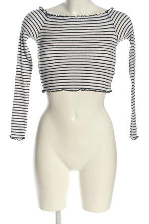 H&M Divided Cropped Top schwarz-weiß Streifenmuster Casual-Look