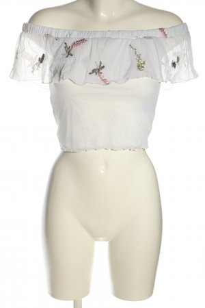 H&M Divided Cropped Top weiß-grün Blumenmuster Casual-Look