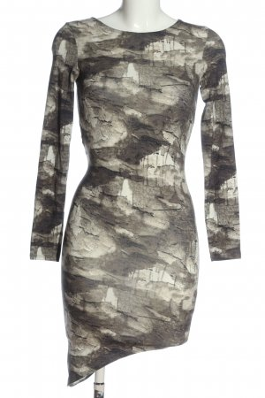 H&M Divided Cut-Out-Kleid hellgrau-weiß abstraktes Muster Casual-Look