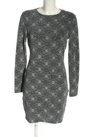H&M Divided Cut-Out-Kleid hellgrau-weiß Allover-Druck Glanz-Optik
