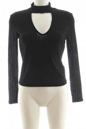 H&M Divided Top cut-out nero motivo a righe stile casual