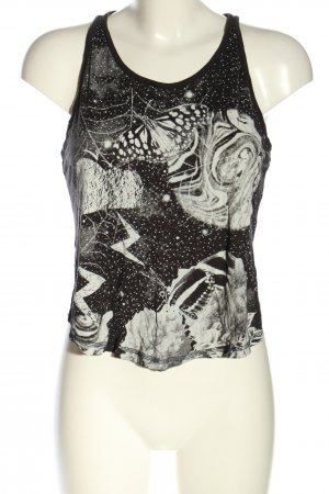 H&M Divided Cut-Out-Top schwarz-weiß Motivdruck Casual-Look