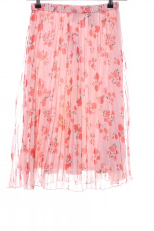 H&M Divided Plaid Skirt pink-red flower pattern casual look