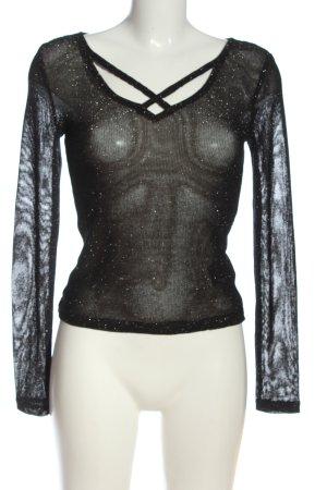 H&M Divided Feinstrickpullover schwarz extravaganter Stil