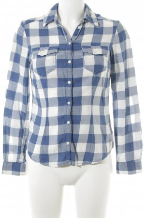 H&M Divided Flannel Shirt white-cornflower blue check pattern casual look