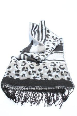 H&M Divided Bufanda de flecos negro-blanco estampado de leopardo look casual