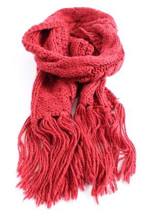 H&M Divided Bufanda de flecos rojo punto trenzado look casual