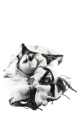 H&M Divided Bufanda de flecos gris claro-negro estampado con diseño abstracto
