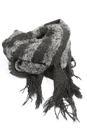 H&M Divided Sjaal met franjes lichtgrijs-zwart gestreept patroon