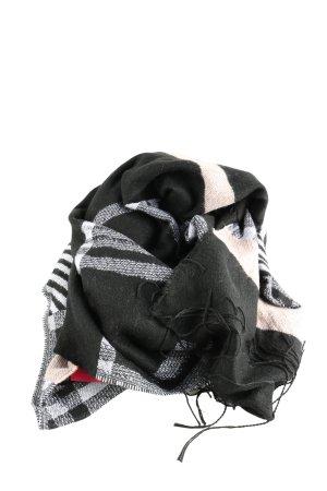 H&M Divided Bufanda de flecos negro-blanco estampado a cuadros