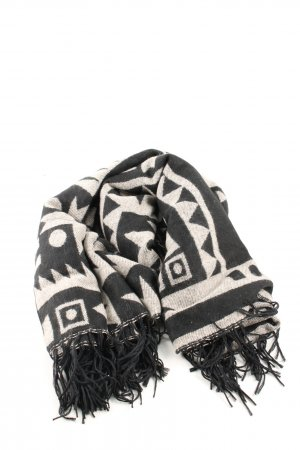 H&M Divided Fringed Scarf black-natural white graphic pattern casual look