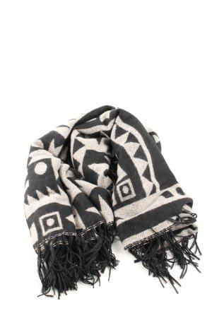 H&M Divided Sjaal met franjes zwart-wolwit grafisch patroon casual uitstraling