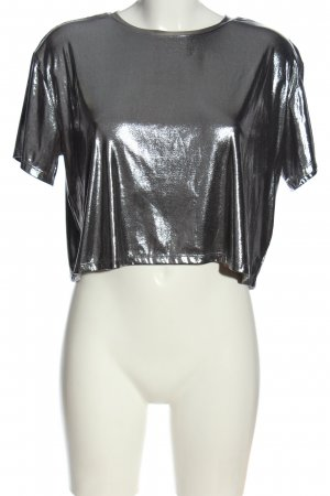 H&M Divided Glanzende blouse zilver casual uitstraling
