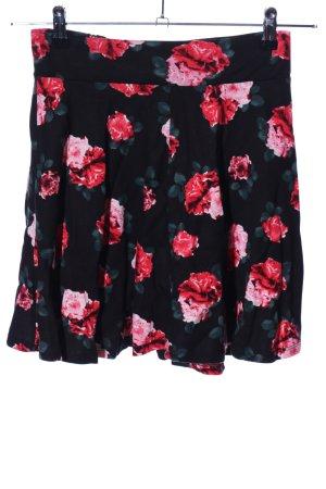 H&M Divided Flared Skirt black-red allover print elegant