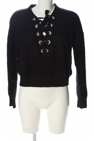 H&M Divided Grobstrickpullover schwarz Casual-Look