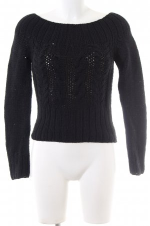 H&M Divided Grobstrickpullover schwarz Zopfmuster Casual-Look