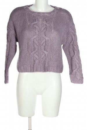 H&M Divided Grobstrickpullover lila Zopfmuster Casual-Look