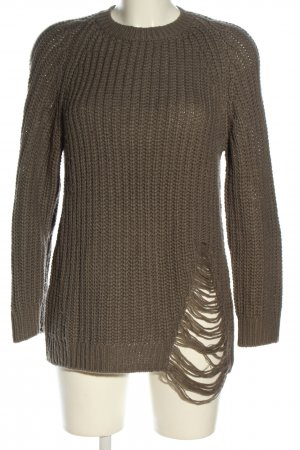 H&M Divided Grobstrickpullover hellgrau Zopfmuster Casual-Look