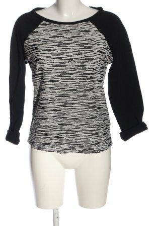 H&M Divided Grobstrickpullover schwarz-weiß abstraktes Muster Casual-Look