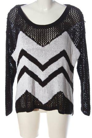 H&M Divided Gehaakte trui zwart-wit grafisch patroon casual uitstraling