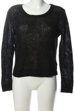 H&M Divided Szydełkowany sweter czarny W stylu casual