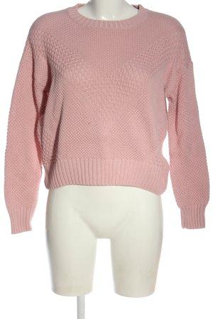H&M Divided Häkelpullover pink Zopfmuster Casual-Look