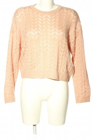 H&M Divided Crochet Sweater pink weave pattern casual look