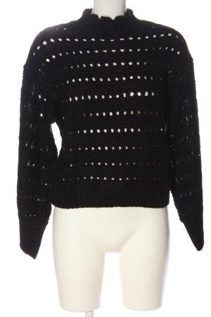 H&M Divided Jersey de ganchillo negro punto trenzado look casual