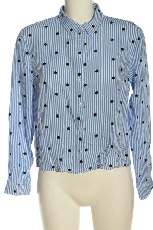 H&M Divided Hemd-Bluse blau-weiß Punktemuster Casual-Look