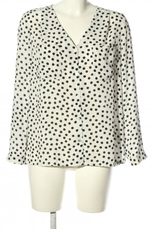 H&M Divided Hemd-Bluse wollweiß-schwarz Allover-Druck Business-Look