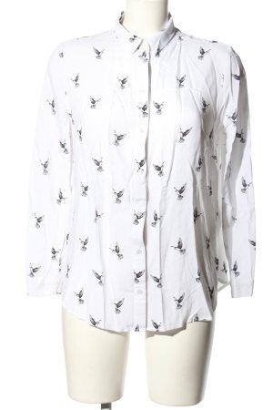 H&M Divided Hemd-Bluse weiß-schwarz Allover-Druck Casual-Look
