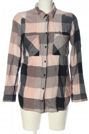 H&M Divided Hemd-Bluse schwarz-pink Karomuster Casual-Look