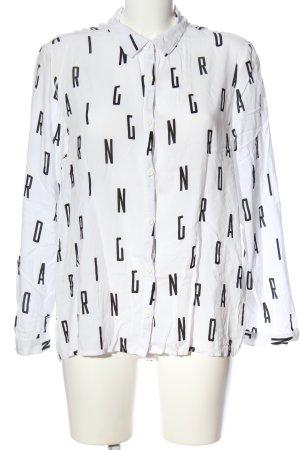 H&M Divided Hemd-Bluse weiß-schwarz Schriftzug gedruckt Business-Look