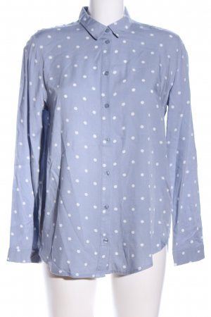 H&M Divided Hemd-Bluse blau-weiß Punktemuster Business-Look