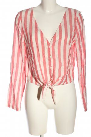 H&M Divided Hemd-Bluse pink-weiß Streifenmuster Casual-Look