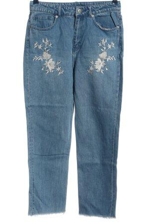 H&M Divided High Waist Jeans blau Blumenmuster Casual-Look