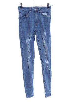 H&M Divided High Waist Jeans blau Street-Fashion-Look