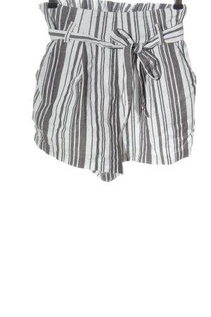 H&M Divided High-Waist-Shorts weiß-schwarz Streifenmuster Casual-Look