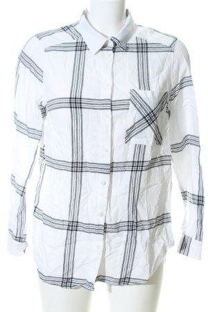 H&M Divided Camicia da boscaiolo bianco-nero motivo a quadri stile casual