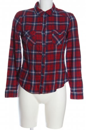 H&M Divided Holzfällerhemd rot-blau Allover-Druck Casual-Look