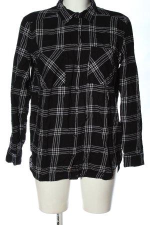 H&M Divided Holzfällerhemd schwarz-weiß Allover-Druck Elegant