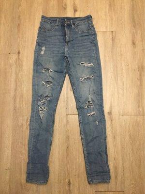 H&M Divided High Waist Trousers slate-gray-azure cotton