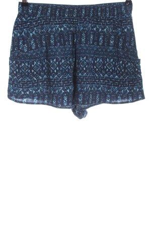 H&M Divided Hot Pants blau abstraktes Muster Casual-Look