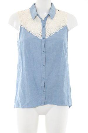 H&M Divided Blusa denim blu-bianco puntinato stile casual