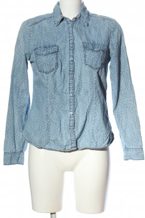 H&M Divided Jeanshemd blau-weiß Allover-Druck Casual-Look