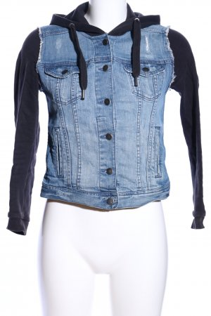 H&M Divided Jeansjacke schwarz-blau Casual-Look