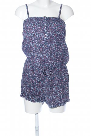 H&M Divided Jumpsuit blau-pink Blumenmuster Casual-Look